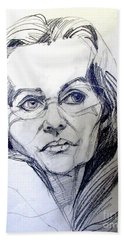 Hand Towel featuring the drawing Graphite Portrait Sketch Of A Woman With Glasses by Greta Corens