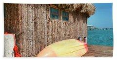 Grass Hut On Ambergris Caye Belize Bath Towel