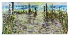Grassy Beach Post Morning 2 Hand Towel