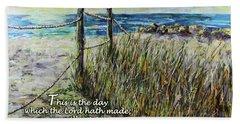 Grassy Beach Post Morning Psalm 118 Hand Towel