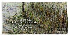 Grassy Beach Post Morning Psalm 118 Hand Towel