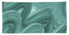 Gray Blue Waves Organic Abstract For Interior Decor X Hand Towel