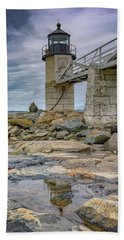 Bath Towel featuring the photograph Gray Day At Marshall Point by Rick Berk