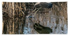 Gray Heron Flew Up Bath Towel