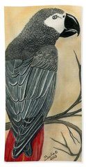 Gray Parrot Hand Towel