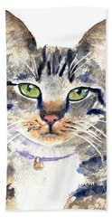 Gray Tabby Cat Watercolor Bath Towel