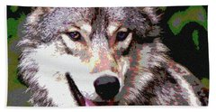 Hand Towel featuring the mixed media Gray Wolf by Charles Shoup