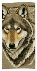 Gray Wolf Portrait Hand Towel