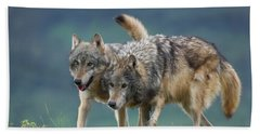 Gray Wolves Hand Towel by Tim Fitzharris