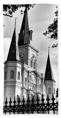 Grayscale St. Louis Cathedral Bath Towel