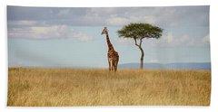 Grazing Giraffe Bath Towel