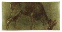 Grazing Roe Deer Oil Painting Bath Towel