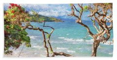 Great Barrier Island New Zealand View Painterly Hand Towel