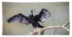 Great Black Cormorant Drying Wings After Fishing Bath Towel