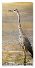 Great Blue At The Flats Bath Towel by Robert Frederick