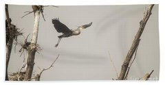 Bath Towel featuring the photograph Great Blue Heron - 6 by David Bearden