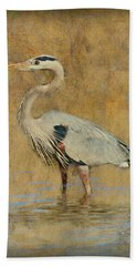 Great Blue Heron Art Bath Towel by Ron Grafe