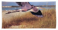 Great Blue Heron At The Beach Hand Towel by Brian Tarr