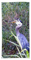 Great Blue Heron Eating A Fish Bath Towel by Chris Mercer