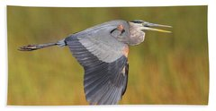 Great Blue Heron In Flight Bath Towel
