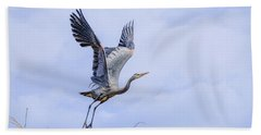 Great Blue Heron In Flight Hand Towel by Keith Boone