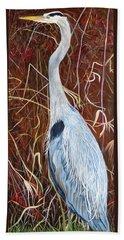 Great Blue Heron Bath Towel by Marilyn  McNish