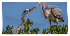 Great Blue Heron Nest Building Hand Towel