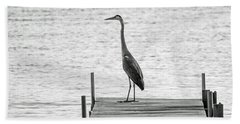 Great Blue Heron On Dock - Keuka Lake - Bw Hand Towel