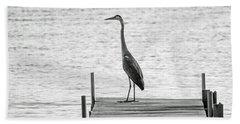 Great Blue Heron On Dock - Keuka Lake - Bw Bath Towel