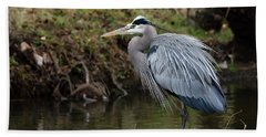 Great Blue Heron On The Watch Bath Towel by George Randy Bass