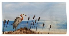 Great Blue Heron - Outer Banks Bath Towel