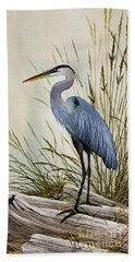 Great Blue Heron Shore Hand Towel by James Williamson