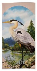 Flying Lamb Productions                 Great Blue Heron Bath Towel
