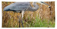 Great Blue Heron Struggling With Lunch Hand Towel