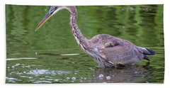 Great Blue Heron - The One That Got Away Bath Towel