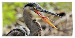 Great Blue Heron Tongue Bath Towel by Debbie Stahre