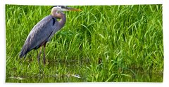 Great Blue Heron Waiting Bath Towel