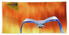 Hand Towel featuring the digital art Great Blue Heron Winging It Photo Art by Sharon Talson