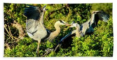 Great Blue Herons Battle Bath Towel