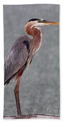 Great Blue In The Rain Hand Towel