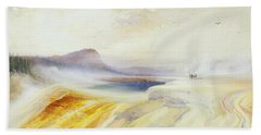 Great Blue Spring Of The Lower Geyser Basin Hand Towel by Thomas Moran
