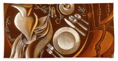Hand Towel featuring the painting Great Dining by Leon Zernitsky