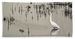 Great Egret At Horicon - B - W  Hand Towel