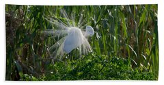 Great Egret In Flight With Windy Plumage Hand Towel