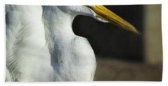 Great Egret Portrait Bath Towel