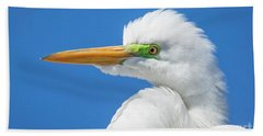 Great Egret Profile Hand Towel by John Roberts