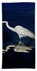 Great Egret-self Reflections Hand Towel