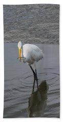 Great Egret Strike Bath Towel