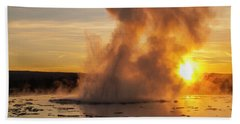 Great Fountain Geyser Sunset - Yellowstone National Park Hand Towel