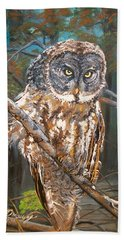 Great Grey Owl 2 Bath Towel by Sharon Duguay